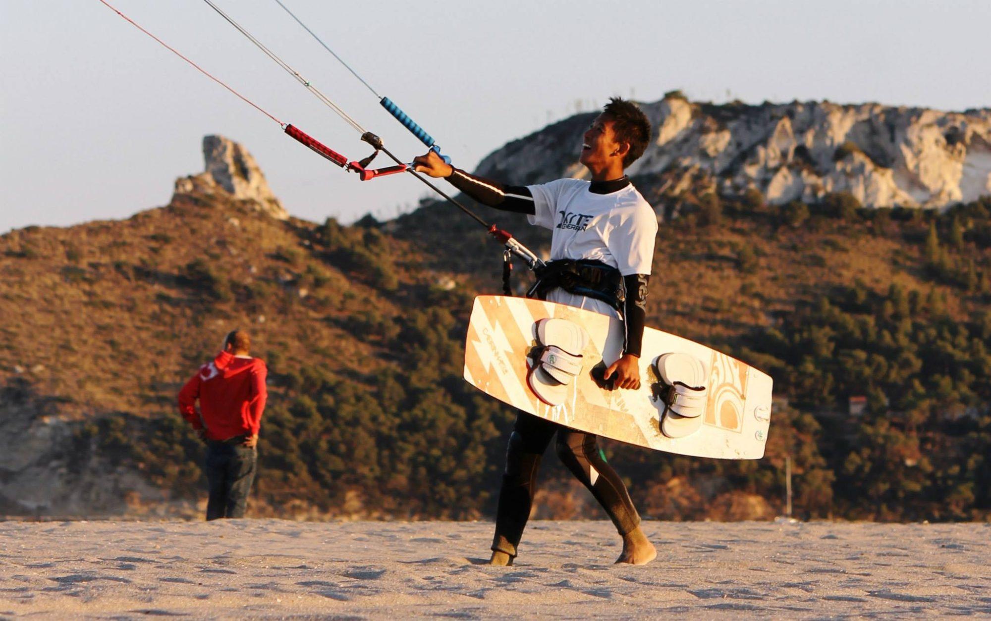 Kitesurfing Poetto Beach of Cagliari, Sardinia