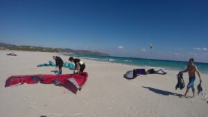 Kitesurfing in Villasimius, Sardinia, Month of October. Beach of Porto Giunco