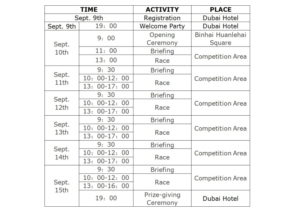 2016 Formula Kite Worlds China Schedule