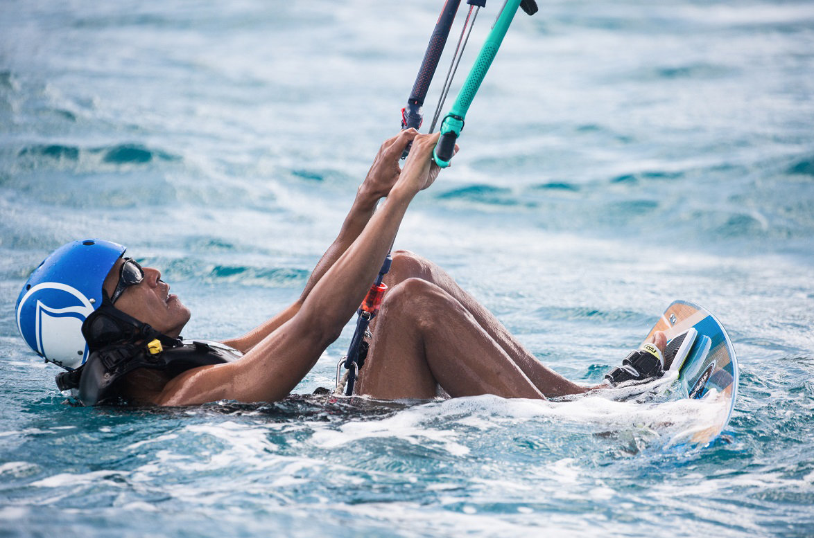 Obama kitesurfing with Richard Branson