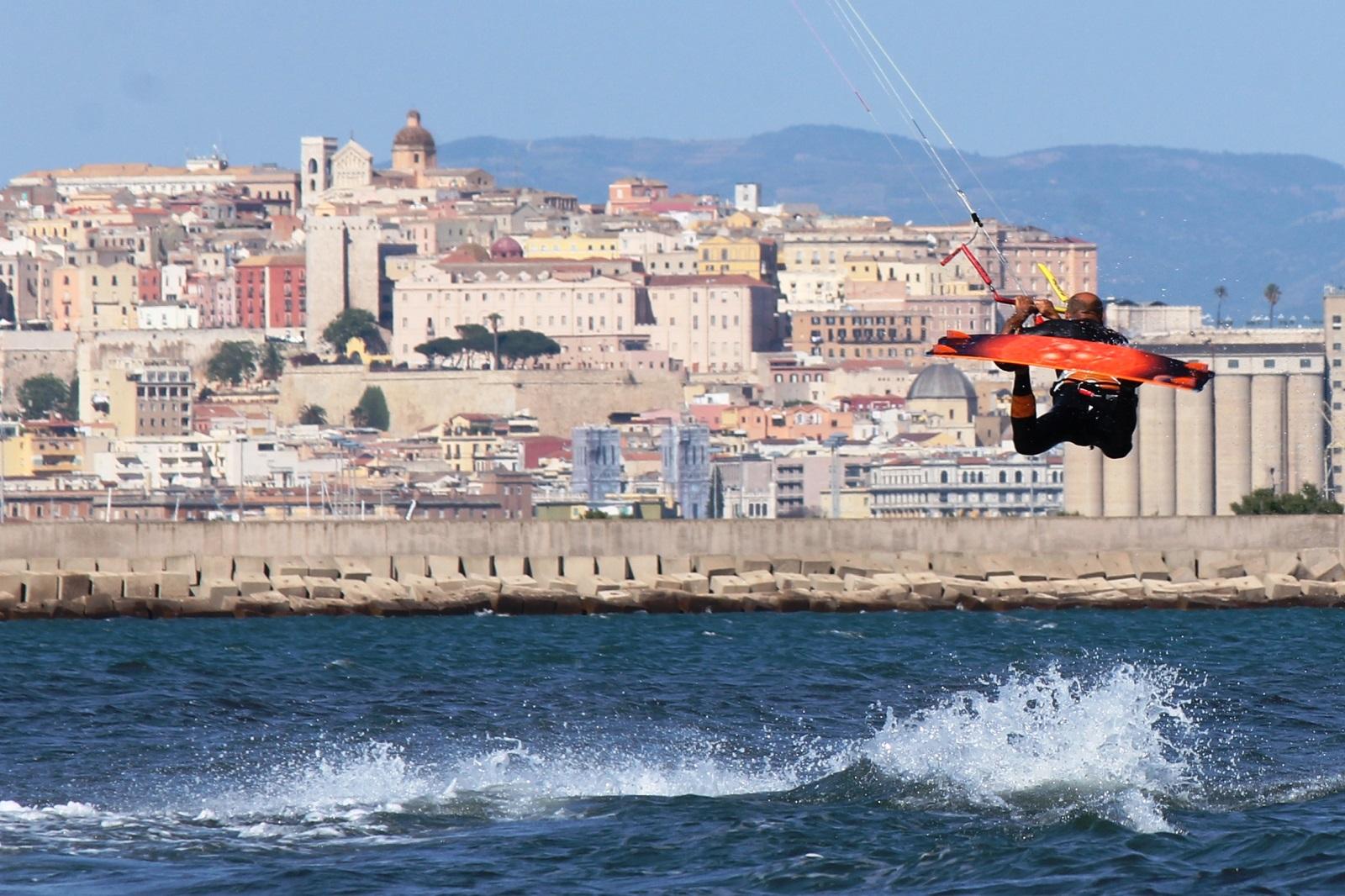 Kitesurfing at Giorgino Kite Beach Cagliari