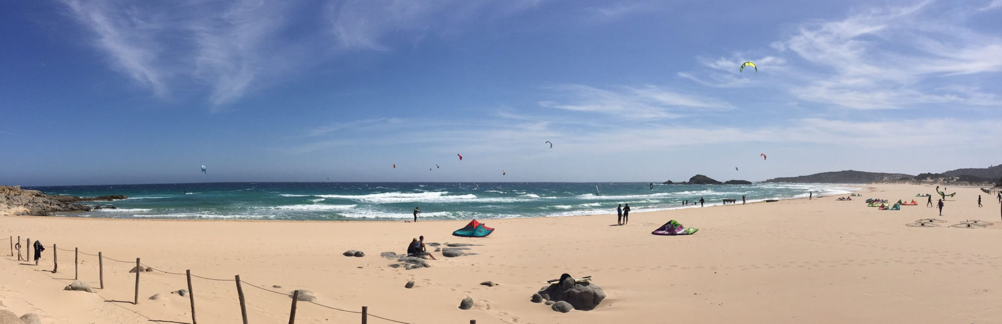 Kitesurfing Chia, Sardinia. Chia is a Wave Kite Spot in the Southern Sardinia, suitable just for advanced riders