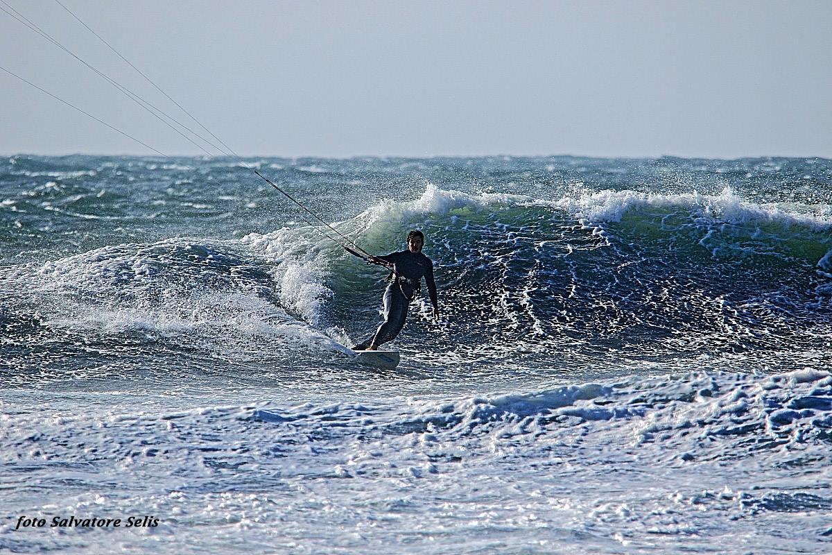 Kitesurf at Maresciallo, Sardinia, Sant'Antioco Island. Wave Kite Spot