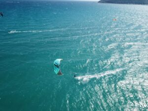 Kitesurfing at Poetto Beach, Cagliari, Sardinia - Photo from Drone