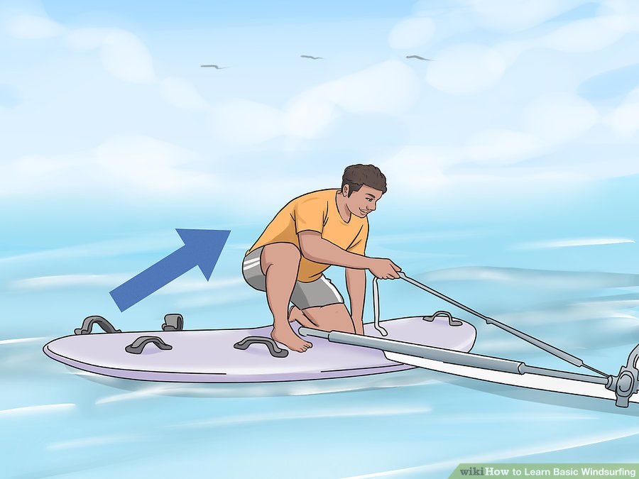 Learn Windsurfing Step-06 - Windsurf Basic of Starting clamber onto the board