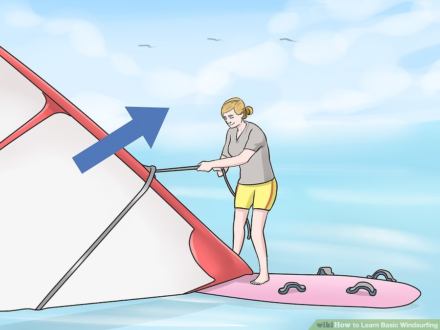 Learn Windsurfing Step-08 - Windsurf Basic of Starting Bend your knees and pull the sail up