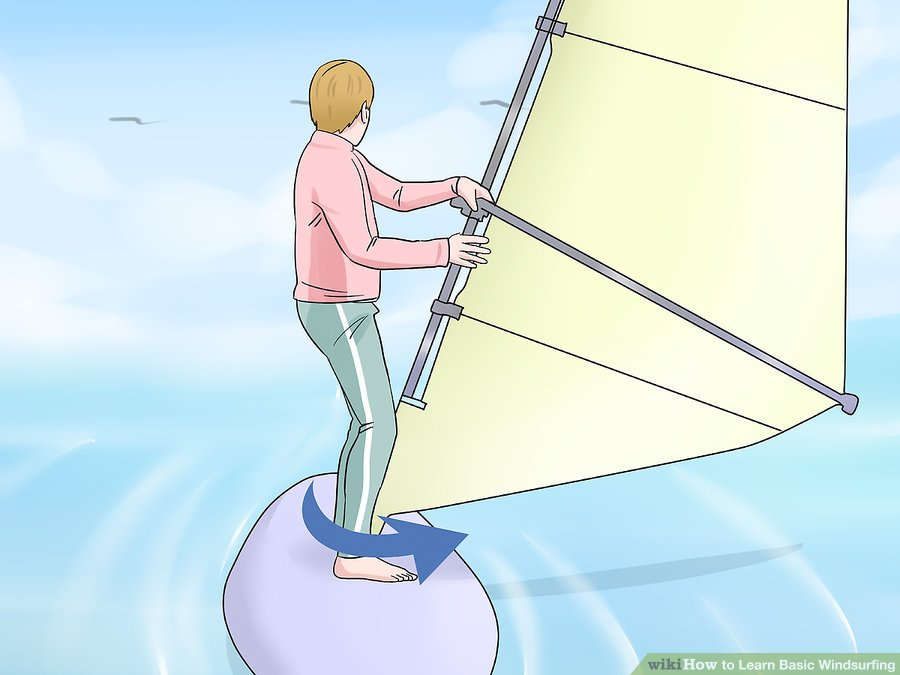 Learn Windsurfing Step-15 - Windsurf Turning Step around the mast to get to the other side