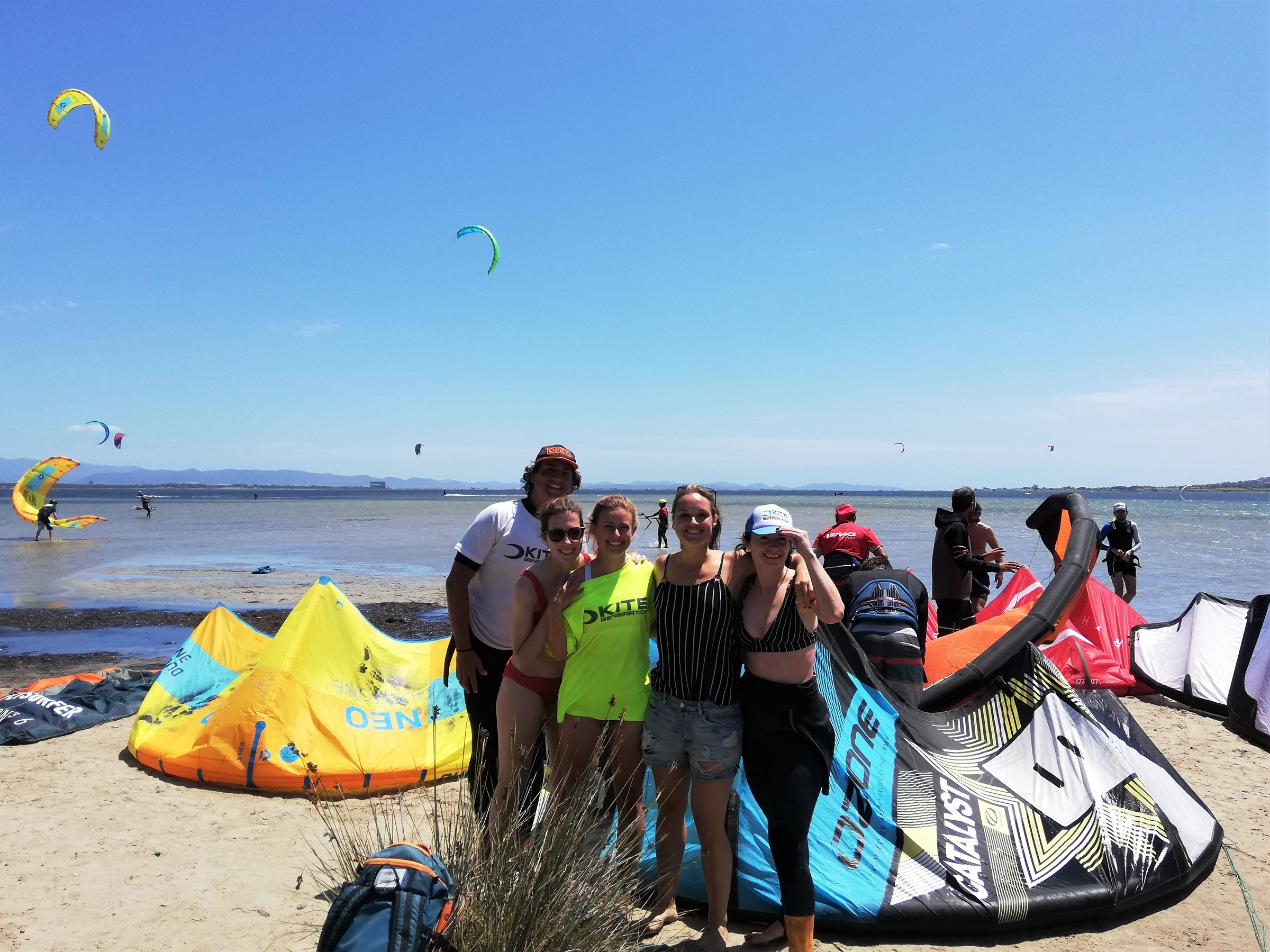 Kite Friends in Punta Trettu Sardinia, the best kite Spot in Europe with Flat and Shallow Water